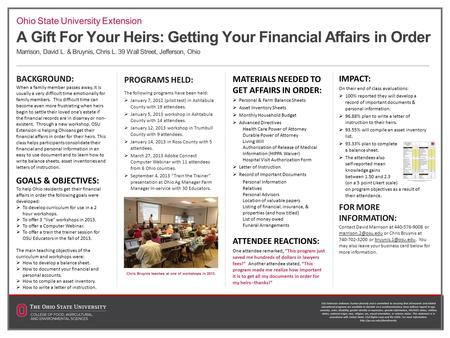 A Gift For Your Heirs: Getting Your Financial Affairs in Order Marrison, David L. & Bruynis, Chris L. 39 Wall Street, Jefferson, Ohio BACKGROUND: When.