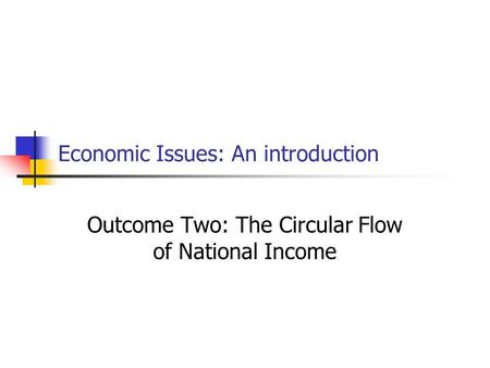 Economic Issues: An introduction Outcome Two: The Circular Flow of National Income.