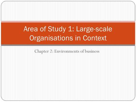 Chapter 2: Environments of business Area of Study 1: Large-scale Organisations in Context.