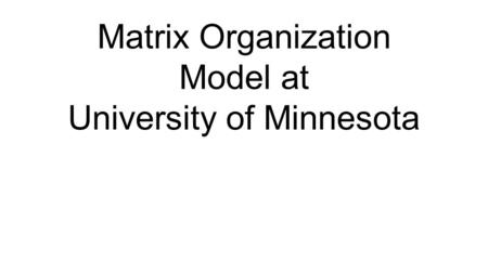 Matrix Organization Model at University of Minnesota.