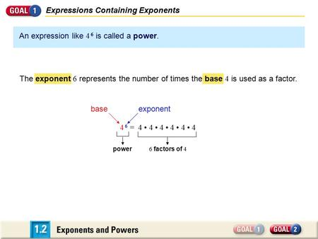 An expression like 4 6 is called a power. Expressions Containing Exponents = 4 4 4 4 4 4 baseexponent 6 factors of 4 4 64 6 power The exponent 6 represents.