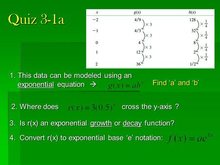 Quiz 3-1a This data can be modeled using an exponential equation 