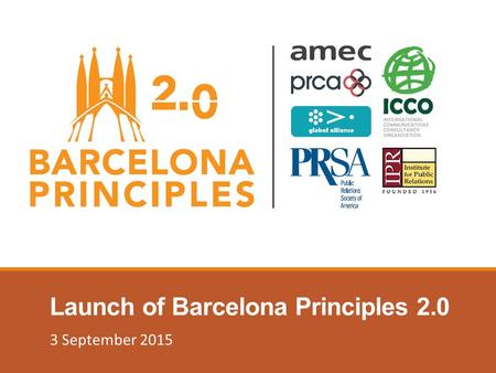 Launch of Barcelona Principles 2.0 3 September 2015.