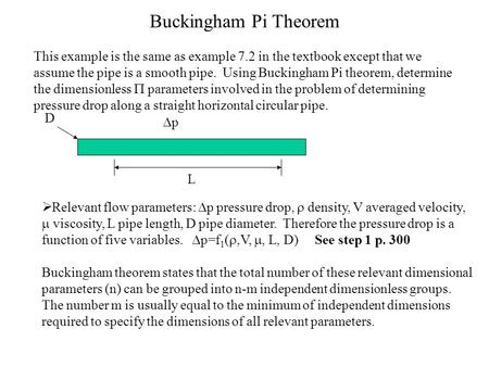 Buckingham Pi Theorem This example is the same as example 7.2 in the textbook except that we assume the pipe is a smooth pipe. Using Buckingham Pi theorem,