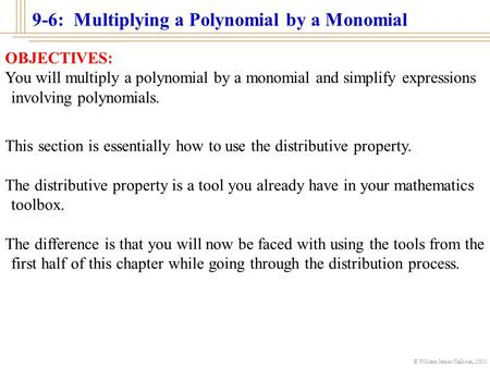 © William James Calhoun, 2001 9-6: Multiplying a Polynomial by a Monomial OBJECTIVES: You will multiply a polynomial by a monomial and simplify expressions.