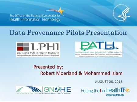 Data Provenance Pilots Presentation