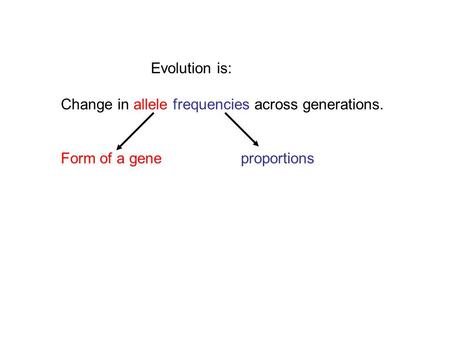 Evolution is: Change in allele frequencies across generations. Form of a gene proportions.