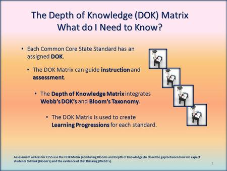 The Depth of Knowledge (DOK) Matrix What do I Need to Know? Assessment writers for CCSS use the DOK Matrix (combining Blooms and Depth of Knowledge) to.