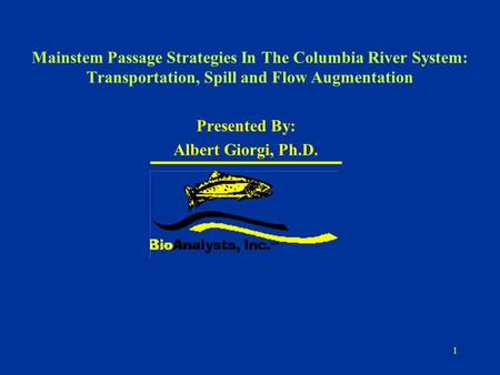 1 Mainstem Passage Strategies In The Columbia River System: Transportation, Spill and Flow Augmentation Presented By: Albert Giorgi, Ph.D.