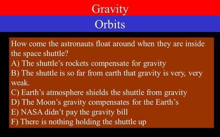Gravity How come the astronauts float around when they are inside the space shuttle? A) The shuttle's rockets compensate for gravity B) The shuttle is.