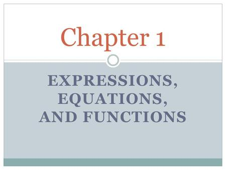 EXPRESSIONS, EQUATIONS, AND FUNCTIONS Chapter 1. FOUR STEP PROBLEM SOLVING 1. UNDERSTAND THE PROBLEM (READ!) 2. PLAN THE SOLUTION (WHAT ARE YOU LOOKING.