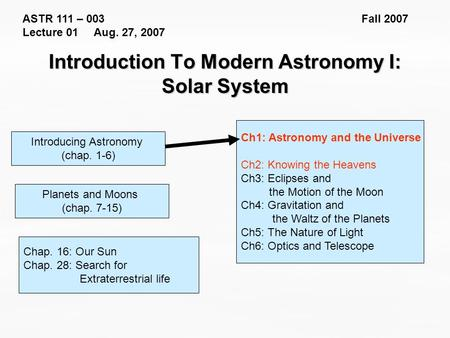 ASTR 111 – 003 Fall 2007 Lecture 01 Aug. 27, 2007 Introducing Astronomy (chap. 1-6) Introduction To Modern Astronomy I: Solar System Ch1: Astronomy and.