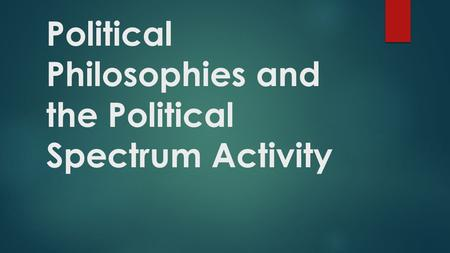 Political Philosophies and the Political Spectrum Activity.