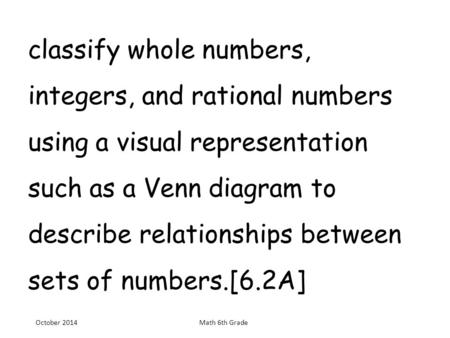 Classify whole numbers, integers, and rational numbers using a visual representation such as a Venn diagram to describe relationships between sets.