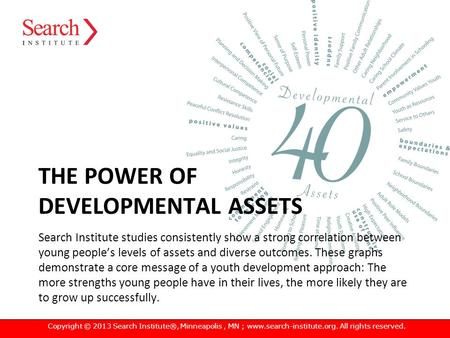 THE POWER OF DEVELOPMENTAL ASSETS Search Institute studies consistently show a strong correlation between young people's levels of assets and diverse outcomes.