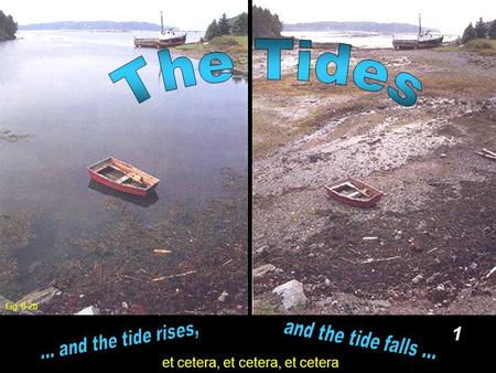 1 et cetera, et cetera, et cetera Fig. 8-2b. 2 And the Tides are... Slow, up and down movements of sea level Once or Twice a day And the Tides are not.