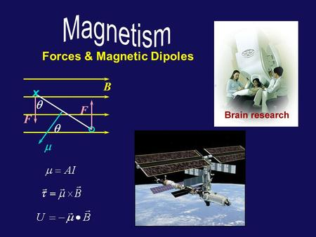 Forces & Magnetic Dipoles B x. F F    Today... Application of equation for trajectory of charged particle in a constant magnetic field: Mass Spectrometer.