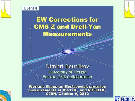 EW Corrections for CMS Z and Drell-Yan Measurements Dimitri Bourilkov University of Florida For the CMS Collaboration Working Group on Electroweak precision.
