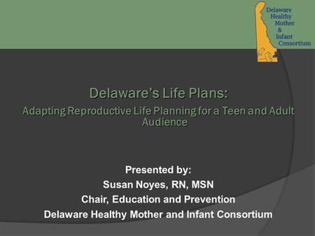 Delaware's Life Plans: Adapting Reproductive Life Planning for a Teen and Adult Audience Presented by: Susan Noyes, RN, MSN Chair, Education and Prevention.