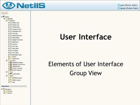 User Interface Elements of User Interface Group View.