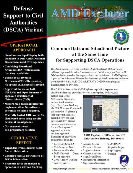"The sun never sets on USASMDC/ARSTRAT ""Secure the High Ground"" Defense Support to Civil Authorities (DSCA) Variant OPERATIONAL APPROACH Simultaneous input/display."