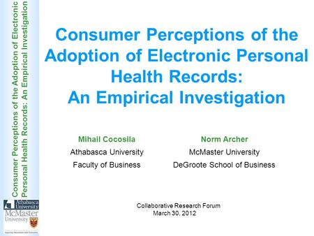 Consumer Perceptions of the Adoption of Electronic Personal Health Records: An Empirical Investigation Collaborative Research Forum March 30, 2012 Mihail.