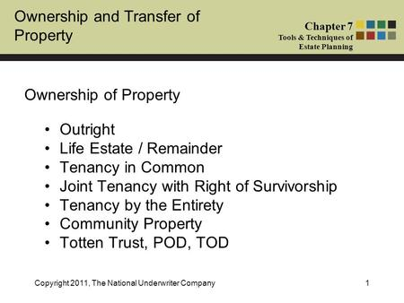 Ownership and Transfer of Property Chapter 7 Tools & Techniques of Estate Planning Copyright 2011, The National Underwriter Company1 Ownership of Property.
