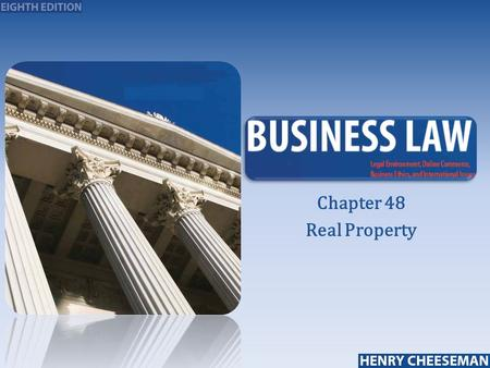 Chapter 48 Real Property.  Property that is immovable or attached to immovable land or buildings  Types of real property:  Land and buildings  Subsurface.