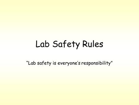"Lab Safety Rules ""Lab safety is everyone's responsibility"""