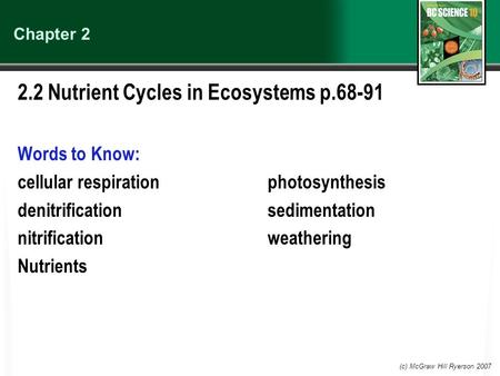 2.2 Nutrient Cycles in Ecosystems p.68-91