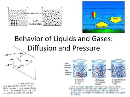 Behavior of Liquids and Gases: Diffusion and Pressure.