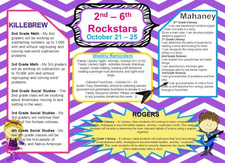 2 nd – 6 th Rockstars October 21 – 25 Weekly Reminders 4th Grade Literacy – In Literacy class students will continue to learn comprehension skills, strategies.