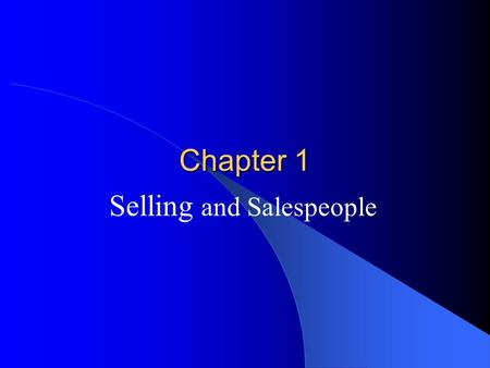 Selling and Salespeople