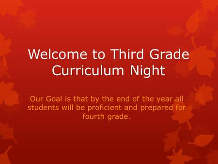 Welcome to Third Grade Curriculum Night Our Goal is that by the end of the year all students will be proficient and prepared for fourth grade.