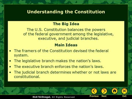Holt McDougal, Understanding the Constitution The Big Idea The U.S. Constitution balances the powers of the federal government among the legislative, executive,