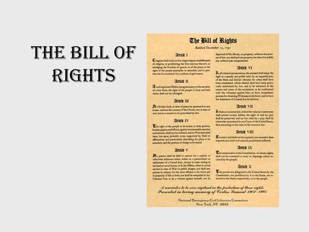 The Bill of Rights. Background Constitution was ratified in 1790 Anti-federalists' chief complaints –lacked individual bill of rights protecting citizens.