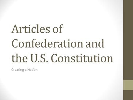 Articles of Confederation and the U.S. Constitution Creating a Nation.
