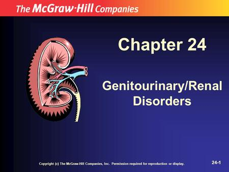 Copyright (c) The McGraw-Hill Companies, Inc. Permission required for reproduction or display. 24-1 Chapter 24 Genitourinary/Renal Disorders.
