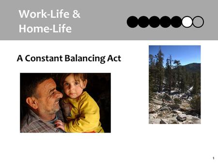 1 Work-Life & Home-Life A Constant Balancing Act.
