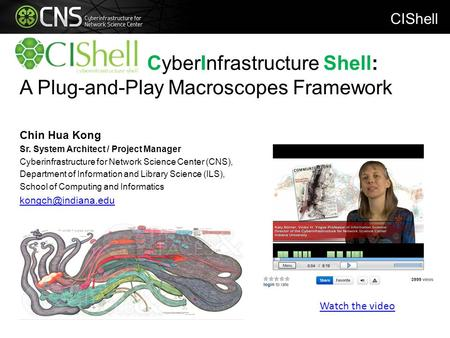 CyberInfrastructure Shell: A Plug-and-Play Macroscopes Framework Chin Hua Kong Sr. System Architect / Project Manager Cyberinfrastructure for Network Science.