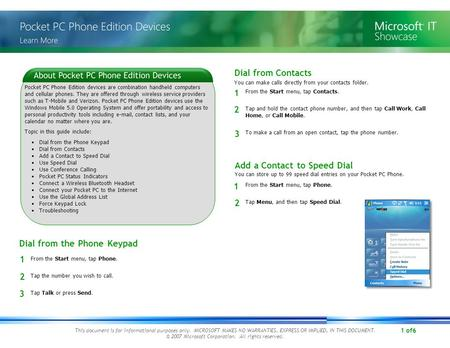 1 of6 This document is for informational purposes only. MICROSOFT MAKES NO WARRANTIES, EXPRESS OR IMPLIED, IN THIS DOCUMENT. © 2007 Microsoft Corporation.