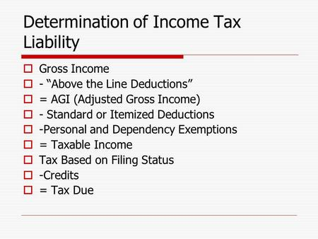 "Determination of Income Tax Liability  Gross Income  - ""Above the Line Deductions""  = AGI (Adjusted Gross Income)  - Standard or Itemized Deductions."