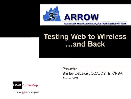 Testing Web to Wireless …and Back March 2001 Presenter: Shirley DeLewis, CQA, CSTE, CPSA.