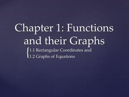 { Chapter 1: Functions and their Graphs 1.1 Rectangular Coordinates and 1.2 Graphs of Equations.