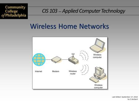 CIS 103 — Applied Computer Technology Last Edited: September 17, 2010 by C.Herbert Wireless Home Networks.