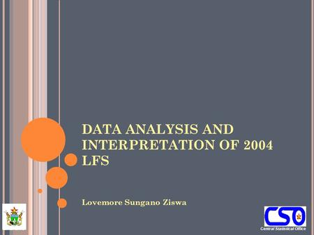 Central Statistical Office ZIMBABWE DATA ANALYSIS AND INTERPRETATION OF 2004 LFS Lovemore Sungano Ziswa.
