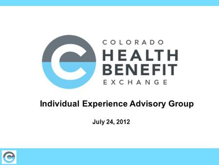 Individual Experience Advisory Group July 24, 2012.
