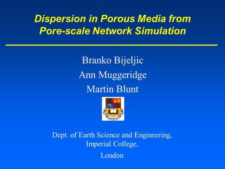 Dispersion in Porous Media from Pore-scale Network Simulation