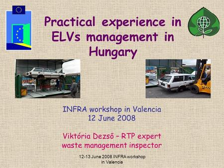 12-13 June 2008 INFRA workshop in Valencia Practical experience in ELVs management in Hungary INFRA workshop in Valencia 12 June 2008 Viktória Dezső –