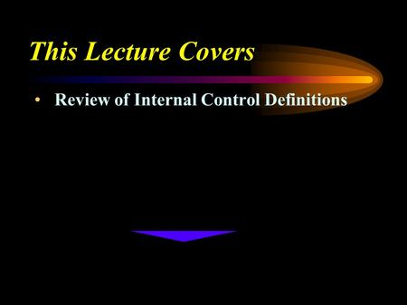 This Lecture Covers Review of Internal Control Definitions.